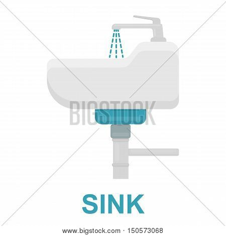 Sink icon flat style. One icon of a large plumbing collection.