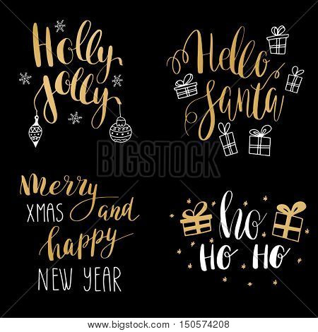 Set of hand calligraphic winter holidays quotes: Jingle bells, Hello santa, Holly jolly christmas, Merry christmas and happy New year. Gold text with decorative elements - bells, box, bow, snowflakes