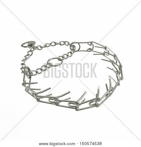 steel dog collar isolated isolated on a white background. 3D illustration