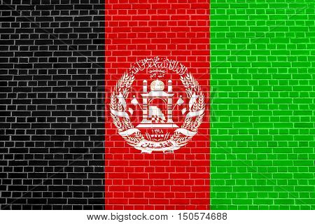 Afghan national official flag. Patriotic symbol banner element background. Accurate dimensions. Correct size colors. Flag of Afghanistan on brick wall texture background, 3d illustration