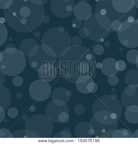Seamless pattern with transparent circles. White bubbles randomly placed on dark blue background. Easy editable vector eps10 illustration.