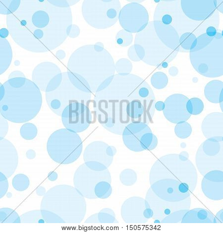 Transparent circles seamless pattern. Sky blue bubbles randomly placed on white background. Easy editable vector eps10 illustration.