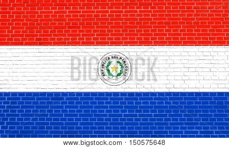 Paraguayan national official flag. Patriotic symbol banner element background. Accurate dimensions. Correct size colors. Flag of Paraguay on brick wall texture background, 3d illustration