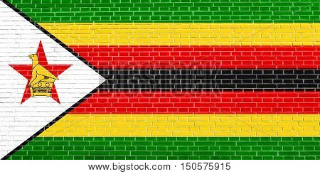 Zimbabwean national official flag. African patriotic symbol banner element background. Accurate dimensions. Correct size colors. Flag of Zimbabwe on brick wall texture background, 3d illustration