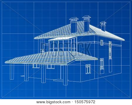 Perspective 3D render of building wireframe. Vector