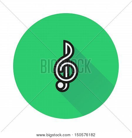 Treble clef icon on round background Created For Mobile Infographics Web Decor Print Products Applications. Icon isolated. Vector illustration