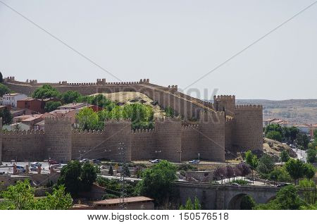 Panoramic view of walls and tower of the historic city of Avila Castilla y Leon Spain