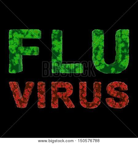Red And Green Flu Virus Text Isolated On Black Background 3D Illustration