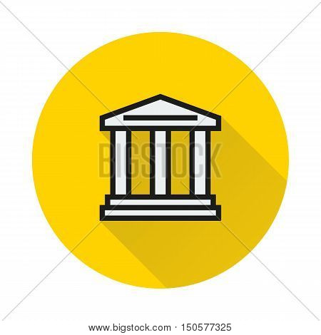Court Building icon on round background Created For Mobile Infographics Web Decor Print Products Applications. Icon isolated. Vector illustration