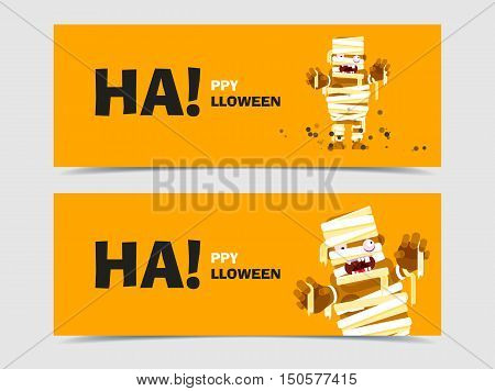 Website spooky header or banner set with Halloween character of the mummy in a flat style