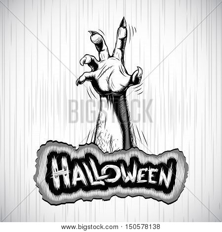 Hand of corpse zombie from grave - the halloween symbol; Vector background Eps8