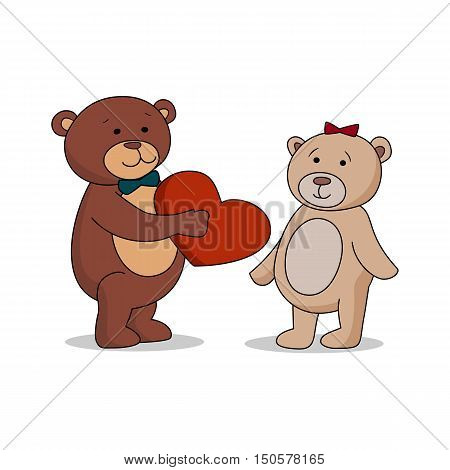 Couple lovers of teddy bears with heart in hands. Bear gives a red heart female bears. Bear sheepishly from the proposal. Happy Valentines Day. Graphic illustration