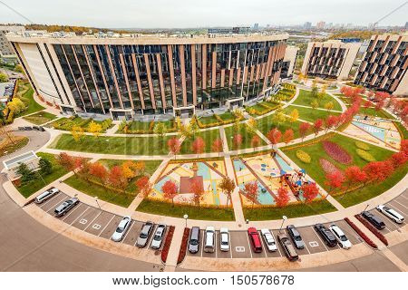 Moscow Russian Federation October 06 2016: Prestige apartment houses in Skolkovo park.