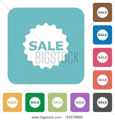 Flat sale badge icons on rounded square color backgrounds.