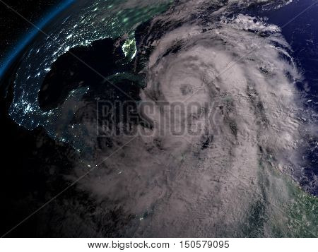 Hurricane Matthew At Night