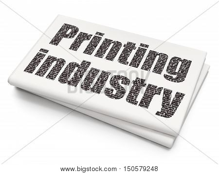 Industry concept: Pixelated black text Printing Industry on Blank Newspaper background, 3D rendering