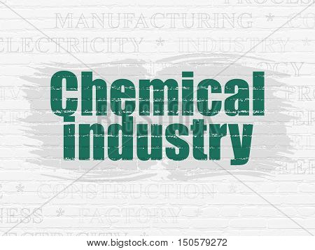 Industry concept: Painted green text Chemical Industry on White Brick wall background with  Tag Cloud