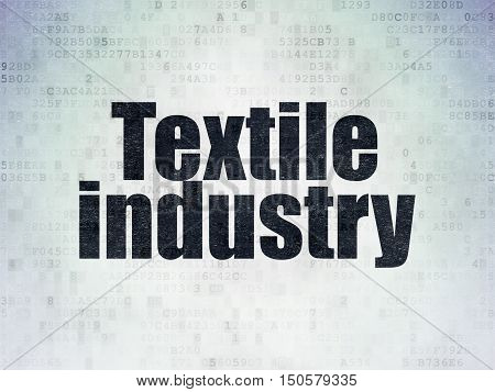 Industry concept: Painted black word Textile Industry on Digital Data Paper background