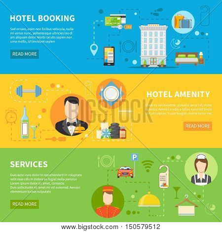 Hotel Service Flat Horizontal Banners Set Isolated Vector Illustration
