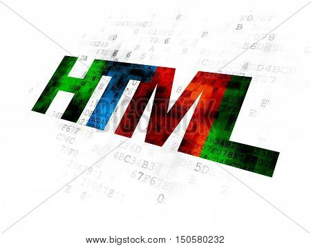 Programming concept: Pixelated multicolor text Html on Digital background