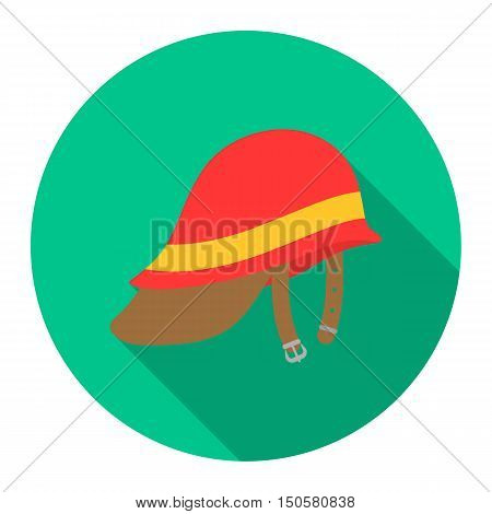 Firefighter Helmet icon flat style. Single silhouette fire equipment icon from the big fire Department flat.