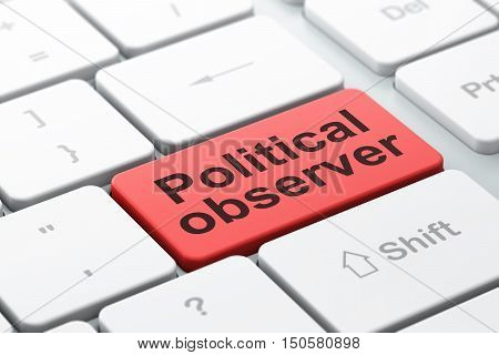 Politics concept: computer keyboard with word Political Observer, selected focus on enter button background, 3D rendering