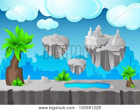 Grey land game design with stone ground and lake islands in cloudy sky green leaves vector illustration