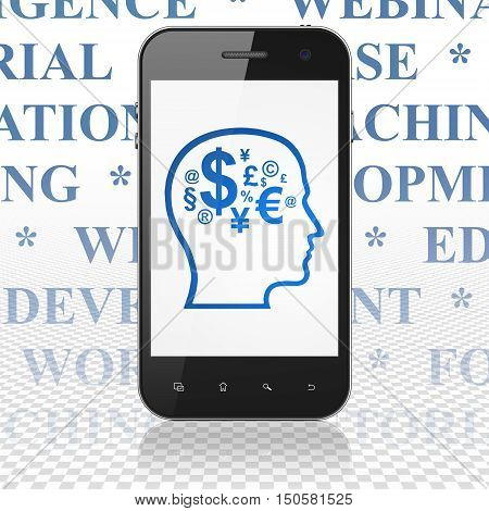 Education concept: Smartphone with  blue Head With Finance Symbol icon on display,  Tag Cloud background, 3D rendering