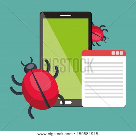 smartphone device and informatic virus alert security system. colorful design. vector illustration