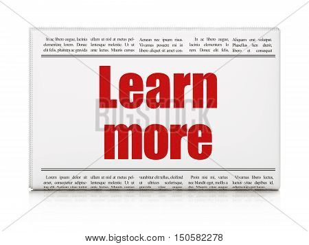 Learning concept: newspaper headline Learn More on White background, 3D rendering