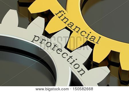 Financial Protection concept on the gearwheels 3D rendering