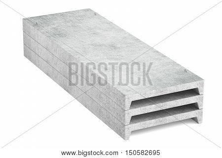 heap of concrete slabs 3D rendering isolated on white background