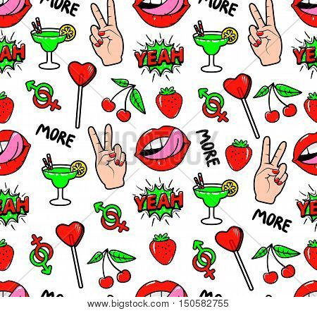 Seamless pattern with fashion patch badges with strawberry, lips, cherry, speech bubble yeah, candy and other elements.Vector background with stickers, pins, patches in cartoon 90s comic style