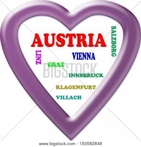 Austria in the Europe and Austria's cities as background, with form of the heart
