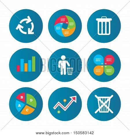 Business pie chart. Growth curve. Presentation buttons. Recycle bin icons. Reuse or reduce symbols. Human throw in trash can. Recycling signs. Data analysis. Vector
