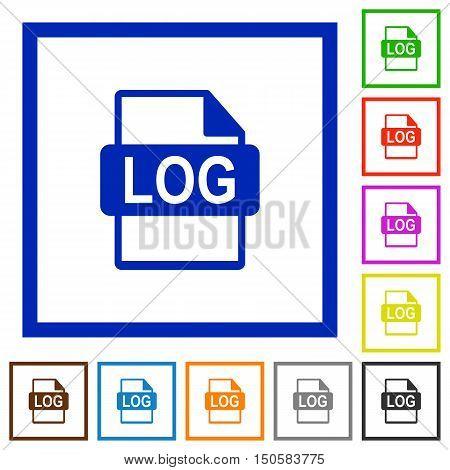Set of color square framed LOG file format flat icons