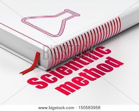 Science concept: closed book with Red Flask icon and text Scientific Method on floor, white background, 3D rendering