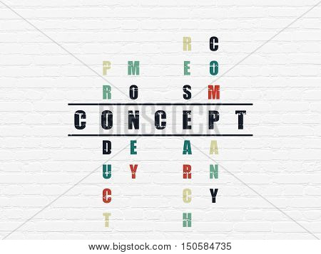 Marketing concept: Painted black word Concept in solving Crossword Puzzle