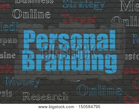 Marketing concept: Painted blue text Personal Branding on Black Brick wall background with  Tag Cloud