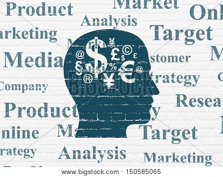 Marketing concept: Painted blue Head With Finance Symbol icon on White Brick wall background with  Tag Cloud