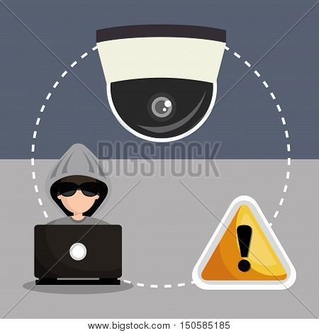 avatar man hacker with virus alert security system icon set. colorful design. vector illustration