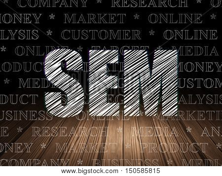 Marketing concept: Glowing text SEM in grunge dark room with Wooden Floor, black background with  Tag Cloud