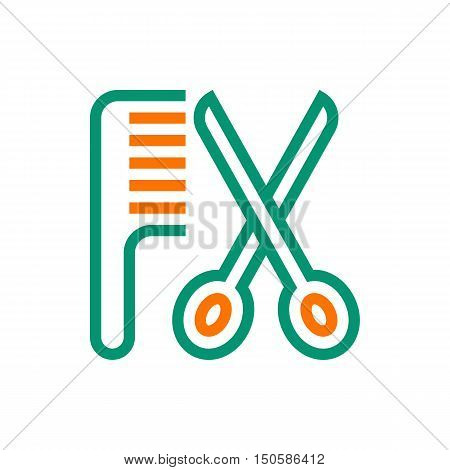hair salon with scissors and comb icon Created For Mobile Web Decor Print Products Applications. Icon isolated. Vector illustration