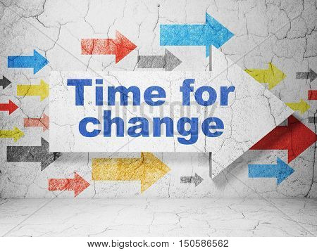 Time concept:  arrow with Time For Change on grunge textured concrete wall background, 3D rendering