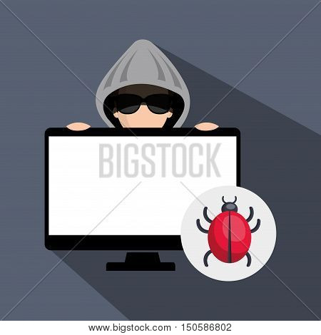 computer and avatar man hacker and informatic security system design. vector illustration