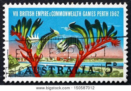 AUSTRALIA - CIRCA 1994: a stamp printed in Australia shows View of Perth and Kangaroo Paw British Empire and Commonwealth Games Perth circa 1994
