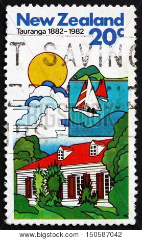 NEW ZEALAND - CIRCA 1982: a stamp printed in New Zealand shows Tauranga City in the Bay of Plenty Region of the North Island Centenary circa 1982