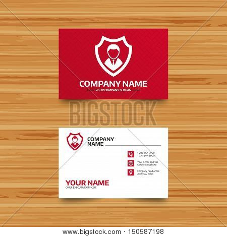 Business card template. Security agency sign icon. Shield protection symbol. Phone, globe and pointer icons. Visiting card design. Vector
