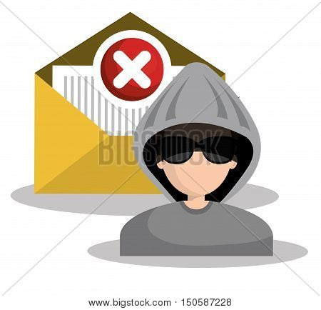 message envelope and avatar man hacker and security system design. vector illustration