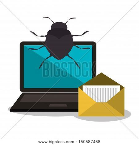 virus and laptop computer and informatic alert security system design. vector illustration